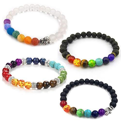 INTVN Lava Stone Bracelets(4 pcs), 7 Chakra Bracelet Yoga Balancing Reiki Healing Lucky Bracelet 8mm Round Semi Precious Beads