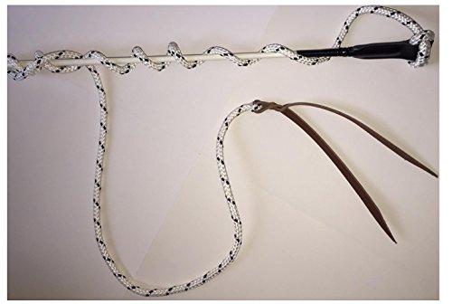 NEUHEIT Kontaktstock mit Seil für die Bodenarbeit 120 cm in WEISS Reitstick Finesse-Stick Carrot Stick HorsemanstickNatural Horsemanship Karottenstecken Pferde Kontaktstock mit Lederschlappe