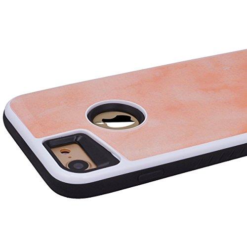 Cover per iPhone 7 Plus, VemMore Custodia con Marmo Pattern Sottile [ 2 in 1 ] Case in Difficile PC + Morbido TPU Silicone Protettiva Caso del Plastica Hardcase Flessibile Resistente Originale Antiurt Arancione