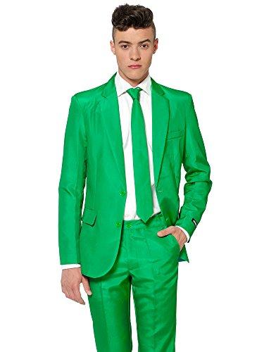 (Suitmeister Anzüge für Herren - Mit Jackett, Hose und Krawatte mit Festlichen Print Solid Green)