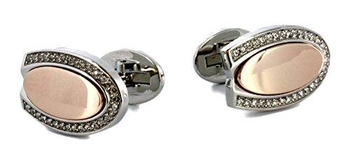 Price comparison product image Cerutti Men's Cufflinks Stainless Steel Rhodium-Plated Zirconia White CTZZ10033.C