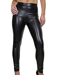 ICE (1537) Jeans Moulant en Simili Cuir avec Coutures Décoratives Noir