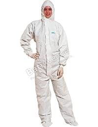 Venitex DT117 Single Use Chemical Protective Disposable White Hooded Overall Boilersuit With Zip Up