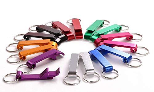 shapenty 8farbigen Metall Split Key Ring kette Schlüsselanhänger Bulk Aluminium Pocket Claw Bar Soda Getränk Bier Flaschenöffner, 16Stück