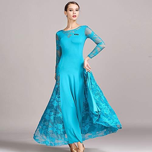 (Ladies 2018 Latin Dance Kleid Bauchtanz Rock Walzer Langen Ärmeln Kleid Blaue Spitze Voluminöse Rock Professional Tänzer Kostüm Große Größe XL 2XL,L)