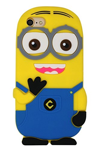 Go Crazzy Cute 3D Cartoon Lovely Despicable Minion Creative Unique Style Soft Silicone Gel Rubber Protective Cover Case for Apple iPhone 6 Plus 6S Plus with Glossy & USB Led Light Absolutely Free