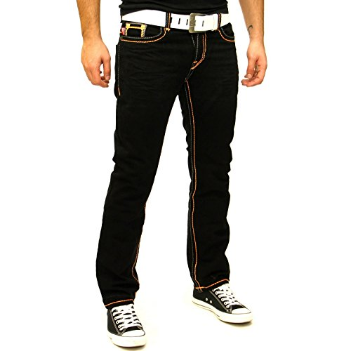 Straight Cut Dicke Orange Naht Schwarz Jeans Hose Black Denim BB138 NEU! Schwarz
