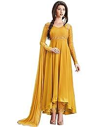 Aryan Fashion Women's Georgette Semi Sticthceds Salwar Suit (Fashion Aryan_=120_10478_ Yellow Free Size)