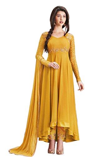 Aryan Fashion Women Georgette Anarkali Semi-Stitched Salwar Suit (Tghvd10483_Yellow_Free Size)