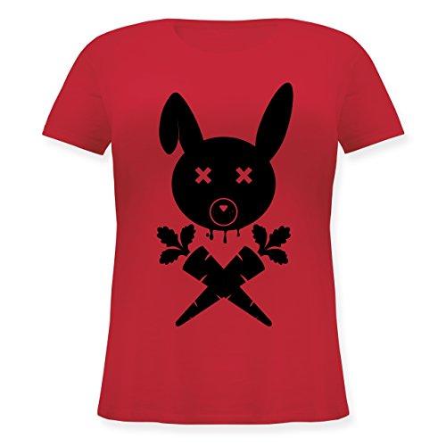 Sonstige Tiere - Hase Skull - Lockeres Damen-Shirt in großen Größen mit Rundhalsausschnitt Rot