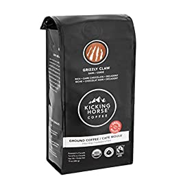 Kicking Horse Dark Chocolate Ground Coffee, Grizzly Claw – (1-Pack) – 284 Grams (10 oz) Dark Ground Coffee, Imported Fairtrade Certified Coffee