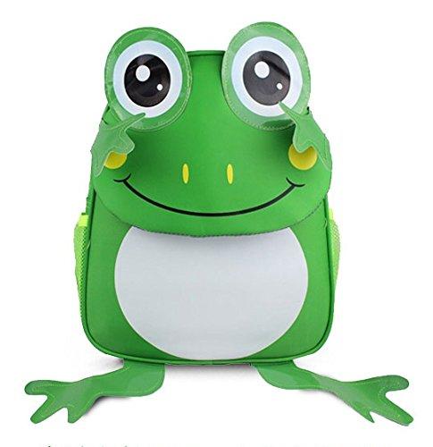 DAYAN Bambini Zaino maschili e studentesse animali cute cartoon ragazzi e ragazze type green Frog