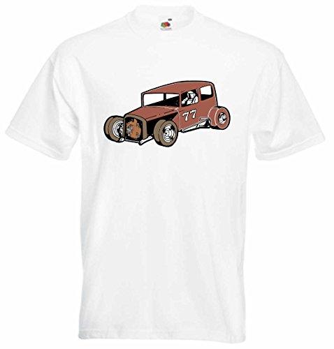 T-Shirt D747 T-Shirt Herren schwarz mit farbigem Brustaufdruck - Design Tribal Comic / Auto Tunning / Nascar Rennwagen Oldtimer Weiß