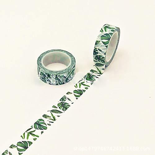 1,5 cm de large fleurs Luxuriant Washi Tape Ruban Adhésif Diy Scrapbooking Autocollant Étiquette Masking Tape Décoratif Inscriptible Washi Craft Bande (vert)