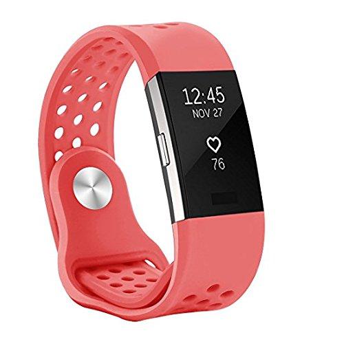 WZE für Fitbit Charge 2 Armband, Soft Silikon Einstellbare Ersatz Sportband Bänder für Fitbit Charge 2 Fitness Wristband für Männer Frauen Girl Boy