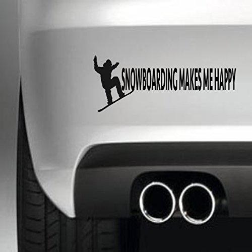 South Coast Stickers Snowboarding Makes Me Happy STICKER FUNNY BUMPER STICKER CAR VAN 4X4 WINDOW PAINTWORK DECAL EURO LAPTOP DRIVE