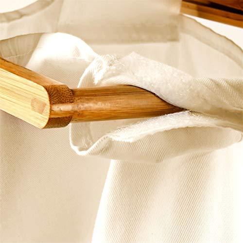 Relaxdays Wäschesammler mit 2 Fächern LINEA, Bambus, 37x33x73 cm - 5