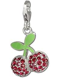 Sueño de plata Charm cerezas circonita rojo{925} de plata de ley colgante para pulsera cadena pendientes FC667