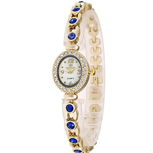 Rocita Armbanduhr, oval, mit Strass-Steinen, Quarzuhr für Damen, Mode, mit Blauer Batteriefunktion