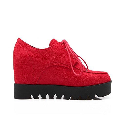 AllhqFashion Femme Lacet Suédé Rond à Talon Haut Couleur Unie Chaussures Légeres Rouge