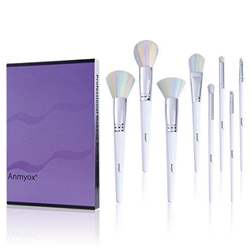 Ensemble de pinceau de maquillage Anmyox, cosmétique Kabuki synthétique Premium 8pcs, brosses pour poudre, fond de teint Blush, ombrage du nez, fard à paupières, sourcils, lèvre, blanc