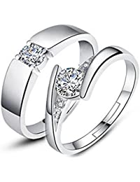 Moneekar Jewels 925 Sterling Silver Plated Zircon Adjustable Couple Rings - Set of 2