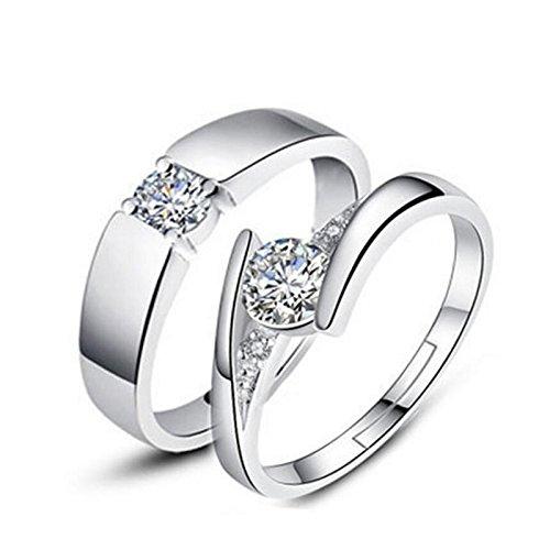 Moneekar Jewels 2 Piece Lovers' Women's Men's 925 Sterling Silver Plated Zircon Adjustable Couple Rings for Lovers (AMAZON EXCLUSIVE)
