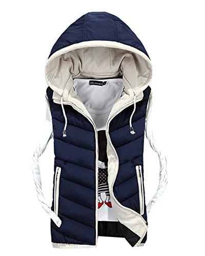 Herren Freizeit Stitching Jacke Draußen Sport Weste Mit Kapuze Weste Mantel Marine 4XL