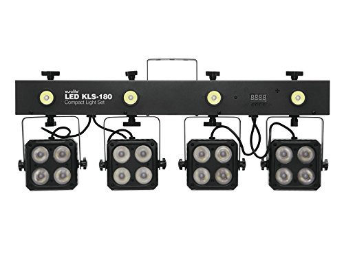 Eurolite LED KLS-180 Kompakt-Lichtset   Komplettlichtanlage für den mobilen Einsatz   Bar mit 4 RGBW-Spots und vier weißen Strobe-LED´s   DMX   Mit Transporttasche   Inklusive Fernbedienung