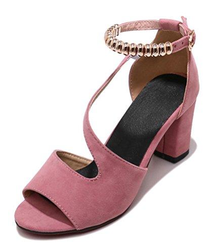 Easemax Damen Klassisch Peep Toe Nubuk Schnalle Absatzschuhe Pumps Sandalen Pink 36 EU