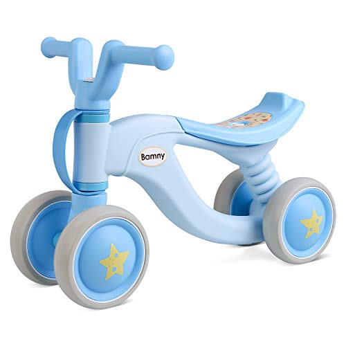 Bamny Baby Balance Bike No Pedal Baby Car Ride on Toy for 1-3 Years Old Children Walker Ages 12-36 Months Durable Toddler Tricycle Infant First Birthday Gift Indoor Outdoor (Blue)