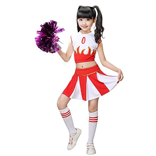 LIUONEXI Mädchen Cheerleader Kostüm Kleid, Highschool Abendkleid Outfit Karneval Party Halloween Cosplay Kostüm (Rosa Cheerleader Kind Kostüm)