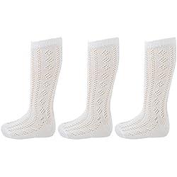 Drew Brady Girls Altura A Rodilla Pelerine Calcetines Escolares - Paquete De 3 Blanco, 27-30