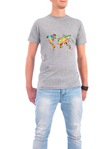 "Design T-Shirt Männer Continental Cotton ""world map 77 color"" - stylisches Shirt Kartografie Reise Reise / Länder von Justyna Jaszke Grau"