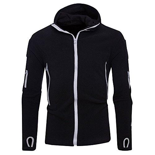 Maglione uomo cappotto inverno cerniera classica felpa con cappuccio hoodie maniche lunghe distintivo sweatshirt camicetta dolcevita classico tops qinsling