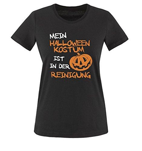 Comedy Shirts - MEIN HALLOWEEN KOSTÜM IST IN DER REINIGUNG KÜRBIS - Damen T-Shirt Schwarz / Weiss-Orange Gr. XXL