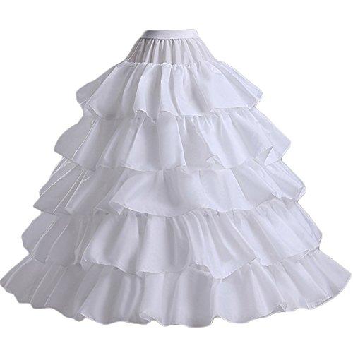 Jupon Longeur Ras Du Sol Petticoat Crinoline Blanc Femme Jeune Fille 4 Cerceau 5 Falbalas Princesse Pour Mariage Cérémonie Fête Spectacle Soirée Party Vintage