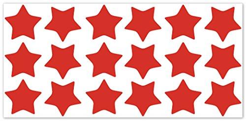 wandfabrik - Fahrradaufkleber - 18 schöne Sterne in hellrot