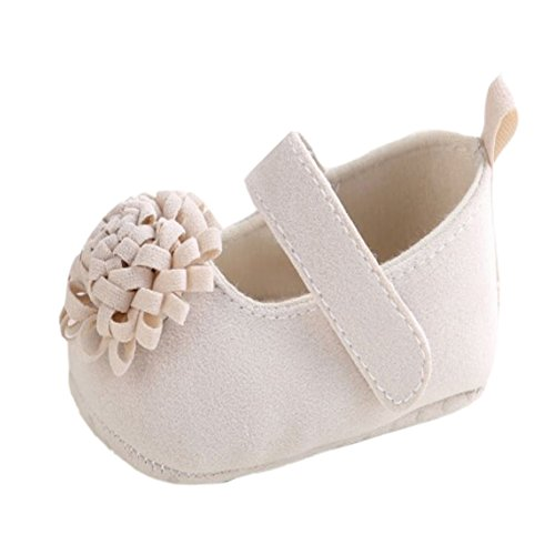 Baby Girl First Walker Princess Flower Soft Soled Anti-Slip Crib Mary Jane Shoes Beige