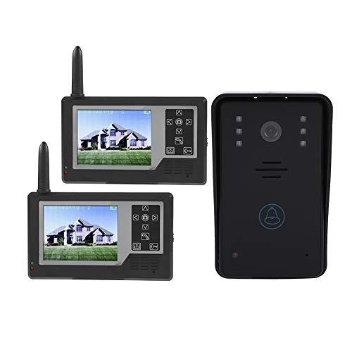 ASHATA Système d'interphone vidéo, interphone 2.4G avec Sonnette de Porte avec Moniteur 3,5 Pouces,Caméra vidéo sans Fil HD Interphone vidéo avec Sonnette de Vision Nocturne(2 Moniteur)