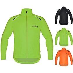 Brisk bicicleta ultraligera todo tipo de clima resistente al agua chaqueta impermeable de deportes para ciclismo, formación lluvia desgaste ciclismo vela, barcos Surf parasailing, Remo, chaqueta playa chaqueta para correr viento Tapón. (verde, XL)