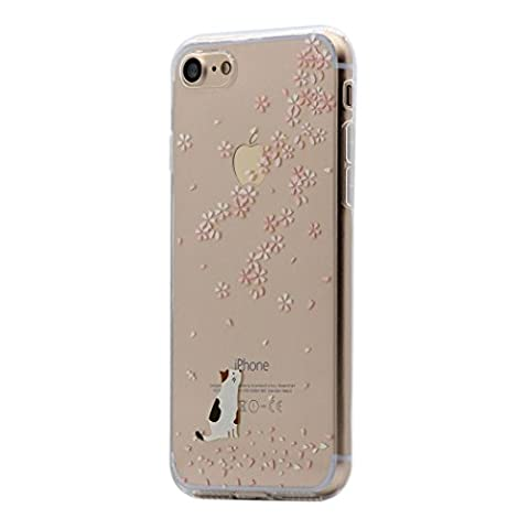 iPhone 6 / 6s Case, Keyihan Funny Pattern Ultra Lightweight Thin Slim Clear Transparent Soft TPU Silicone Cover Skin for Apple iPhone 6/6S (4.7 inch Screen) (White Cat and Cherry Blossom)