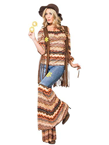 Hippie Bell Bottom Hose Kostüm - shoperama Hippie Harmony Damen-Kostüm Top Schlaghose Weste Carmen-Top 60er 70er Jahre Seventies Sixties Flower Power, Größe:M