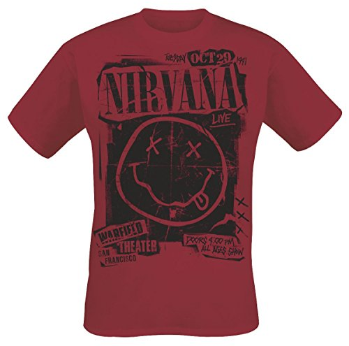 Nirvana Band Poster T-Shirt Rot L (Ihn T-shirt Band)
