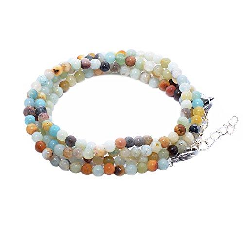 Rainbow safety pietra naturale 4-5 mm bracciale 4 giri per donna braccialetto perle occhio di tigre agata ametista amazzonite tormalina br (amazzonite)