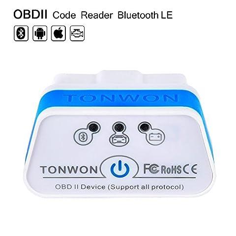 TONWON Bluetooth 4.0 (BLE) OBD2 Lecteur de code de voiture Logiciel de balayage OBD Scanner pour iOS, appareil Android