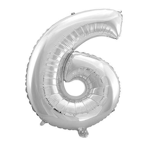 MC-Globo Gigante Número 6 De Foil Color Plata para Fiestas de Cumpleaños 65cm