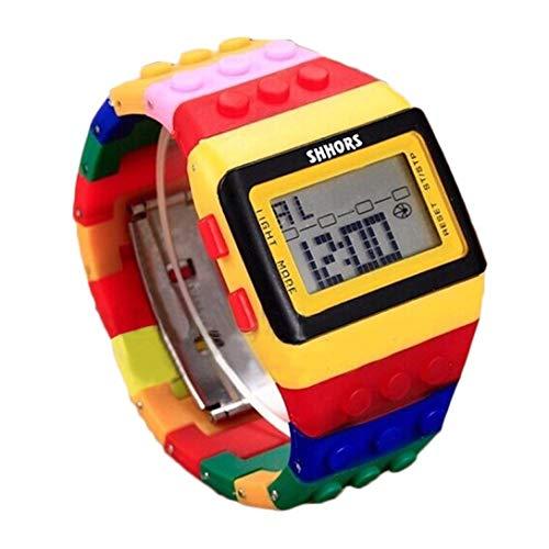 Goosuny Kinder Unisex Bunt Digital Armbanduhr Digitale Sportuhr Outdoor LED Uhr Für Junge Mädchen Kalender Wecker Beleuchtung Multifunktionale Armbanduhren Sportuhren Chronograph (Bunt)