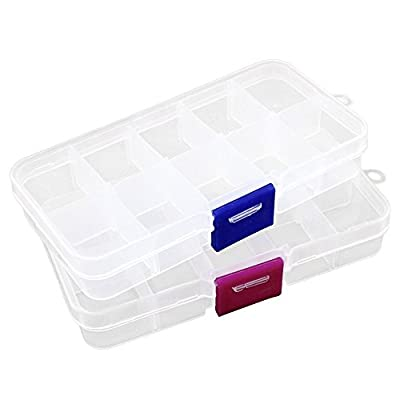2pcs Plastic Jewelry Fishing Hook Small Accessories Organizer Container 10 Adjustable Clearly Storage box from Co-link