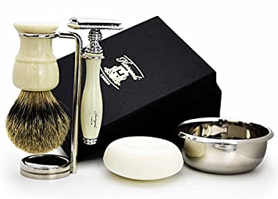 5 Pieces Ivory Colour Men's Shaving Set. The Set Comes With Pure Sliver Tip Badger Hair Shaving Brush, De Safety Razor( No Blades Included)stainless Steal Brush Stand & Bowl, Free Soap. Hand Made In Uk. Newly Designed By Haryali London